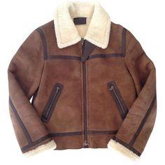 Prada shearling jacket PRADA (2.205 BRL) ❤ liked on Polyvore featuring outerwear, jackets, coats, coats & jackets, prada jacket, brown shearling jacket, brown jacket, prada and shearling jacket
