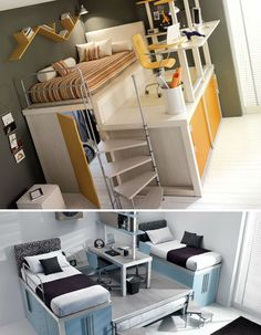 Not only a loft bed, but the desk/work area is on an upper level as well leaving extra storage underneath. For someone who has very tight quarters, this would be perfect. (Cool Beds For Small Rooms) Awesome Bedrooms, Cool Rooms, Small Rooms, Tiny Spaces, Unique Teen Bedrooms, Trendy Bedroom, Kids Bedroom, Bedroom Decor, Bedroom Loft