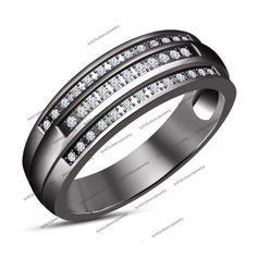 0.26 ct White CZ Black Rhodium Plated 925 Silver Wedding & Anniversary Band Ring #WeddingAnniversary