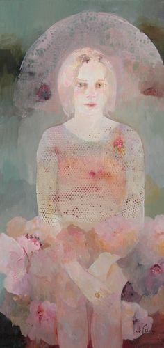 pink - woman - Francoise de Felice - figurative painting