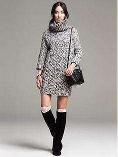 chunky sweater dress // over-the-knee socks // knee-high boots // mini satchel