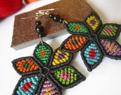 This week's Tuesday treasury features Gwenaël Petiot from Papacho Creations. Micro Macramé, Make Your Own, How To Make, Macrame Jewelry, Gemstone Beads, Etsy, Knots, Crochet Earrings, Weaving