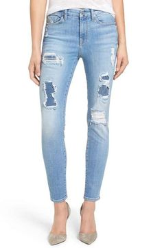 7 For All Mankind® Embellished & Destroyed Ankle Skinny Jeans