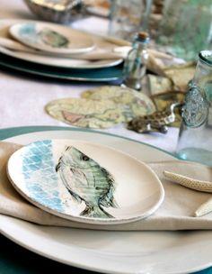Elegant Beach Table Idea in a White Seafoam u0026 Sand Color Palette & Nautical Table Decor with Blue Dishes u0026 Sea Life Plates   Nautical ...