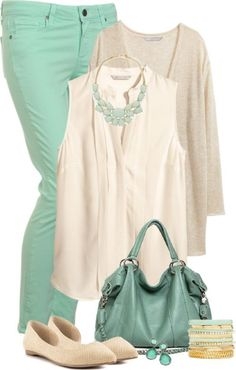 Love the mint pants, a great pop of spring must have Mint Pants Outfit, Green Jeans Outfit, Mint Green Outfits, Mint Green Jeans, Beige Outfit, Mint Green Clothes, Turquoise Pants Outfit, Red Pants, Polyvore Outfits