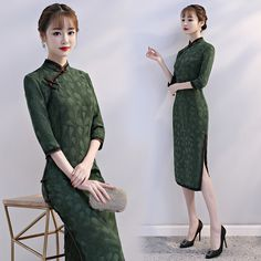 985d75b526f3b 中国 伝統衣装 チャイナドレス 緑 グリーン 中袖レース 結婚式ドレス、二次会、パーティー、演奏会、披露宴--九六商圏 - 海外ファッション激安通販サイト