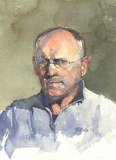 self portrait by Stewart White, Watercolor ~ 14 x 11, nfs. | See more of Stewart's work at: http://www.southstreetartgallery.com/index.html  and http://stewartwhitestudios.com