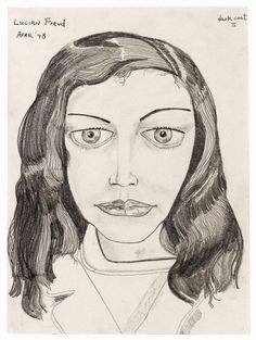 "Lucian Freud Dark Coat II pencil on paper Private Collection; exhibited at ""Lucian Freud Drawings"" Acquavella Galleries NY Lucian Freud, Sigmund Freud, Gouache, Artists And Models, Statues, Art Graphique, Life Drawing, Human Drawing, Drawing Faces"