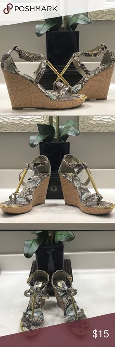 "💚EUC💚Massimo Wedges💚 Beautiful snake print wedges with a 4.5"" heel. They are comfortable and stylish. Barely worn. Mossimo Shoes Wedges"