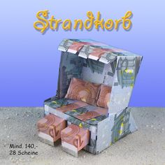 Beach chair From bank notes Dollar Origami, Origami Box, Diy And Crafts, Paper Crafts, Exploding Boxes, Beach Chairs, Toy Chest, Birthday Gifts, Decorative Boxes