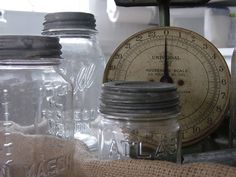 Canning jars for preserving fruits and veggies..