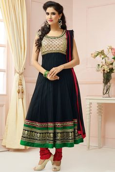 Presenting Black and Green Net #Anarkali #Suit with Embroidered and Lace Work  Order Now@ http://zohraa.com/black-net-suit-diffu1480cat34612.html  Rs. 6,999.