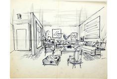Sketch of drawing room with sectional sofa. Pen and pencil on tracing paper.