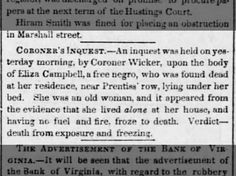 Coroner's Inquest-Eliza Campbell, free negro found dead at her residence from exposure/freezing