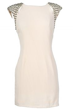 Studded Shoulder Ivory Sheath Dress - love this!  Good site for cheap clothing