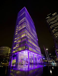 LEDs on the outside, not on the inside. That's the Amsterdam headquarters building for lighting stalwart Royal Philips Electronics, dressed up for Breast Cancer Awareness. LEDs are a good way to decorate.