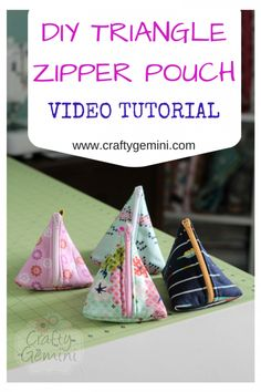 Crafty Gemini | How to Make Triangle Zipper Pouches- Video Tutorial | http://craftygemini.com