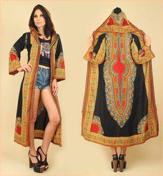 ViNtAgE 60's 70's Rare HOODED Dashiki Maxi Jacket Dress Tribal Hippie Festival Coachella by hellhoundvintage, $158.00