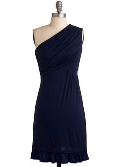 Midnight Sun Dress - Blue, Solid, Ruffles, Party, Casual, A-line, One Shoulder, Mid-length, Jersey, Best Seller, Ruching, Top Rated