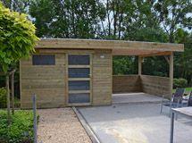 Abris de jardin bois carport voitures bois garage bois for Abri de jardin toit plat avec auvent