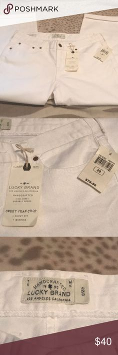 White Lucky Brand Crop Jeans 8/29 NWT Cotton/Spandex  New with tags Lucky Brand Jeans Ankle & Cropped