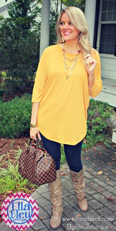 Mustard is such a great color for fall! Found at Ella Bleu Boutique on Facebook. www.Facebook.com/EllaBleuBoutique