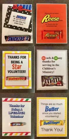 Candy Bar Volunteer Appreciation Notes! These fun and simple ways to say thank you to your awesome Children's Ministry Volunteers!