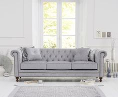 Bonsoni is proud to present this Malden Grey Fabric 3 Seater Sofa With Dark Ash Wood Legs Cushions Included). This is a beautiful, strong, and sturdy Sofa. This Malden Grey Fabric 3 Seater Sofa With Dark Ash Wood Legs Cushions Included) has finish a Chesterfield Sofas, Chesterfield Living Room, Oak Furniture House, Velvet Furniture, Sofa Furniture, Furniture Projects, Furniture Design, Fabric Sofa, Grey Fabric