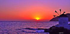 aggeliki.k - Το ηλιοβασιλεμα και ο ανεμομυλος. / Suns... Summer Crafts, Pink Flowers, Greece, Challenges, Explore, Sunset, World, Building, Places