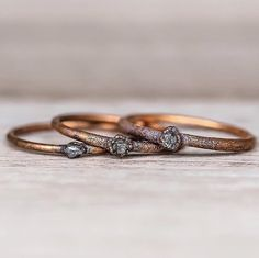 Raw Diamond and Copper Ring