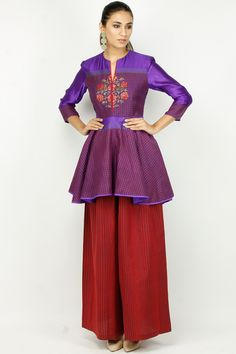 Krishna Mehta Violet And Red Thread Work Checkered Short Kurta Set