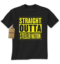 Mens Straight Outta STEELER Nation T-Shirt Large Black
