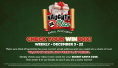 Make sure WNC has your email for your chance at cash and FREE PLAY December 1-22!