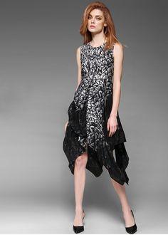 Online Schwarz Trägerkleid aus Seide NQ2172