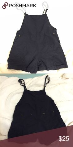 Cute Brandy Melville Overall Shorts Worn and washed once, nice navy color, has front pockets and two star embroidery/patches on the front, has two small pockets at the back, fits size S-M, adjustable straps, reasonable offers welcome Brandy Melville Dresses