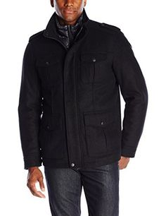 """Mid-length four pocket military coat with zip out nylon quilted bib       Famous Words of Inspiration...""""A Canadian is someone who knows how to make love in a canoe.""""   Pierre Berton — Click here for more from Pierre...  More details at https://jackets-lovers.bestselleroutlets.com/mens-jackets-coats/wool-blends-mens-jackets-coats/product-review-for-dockers-mens-washable-wool-blend-4-pkt-military-w-nylon-bib/"""