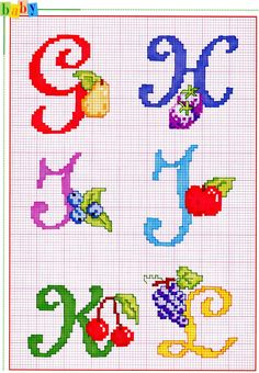 Various Bright Letters with Fruit Alphabet Cross Stitch Pattern Xmas Cross Stitch, Cross Stitch Charts, Cross Stitching, Cross Stitch Embroidery, Cross Stitch Alphabet Patterns, Cross Stitch Letters, Stitch Patterns, Embroidery Fonts, Hand Embroidery
