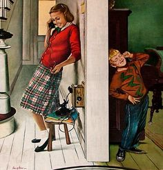 George Hughes  This is one reason big sisters don't like little brothers. This painting appeared on the cover of the Saturday Evening Post in November 1949.