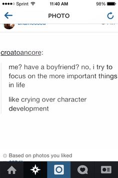 FOR REAL THOUGH. My characters and their lack of development makes me sad sometimes hahahahaha