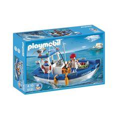 Flot blå fiskekutter med 1 Playmobil fisker, fisk og fiskekasse, krabbe, hummer, måge og fiskeudstyr. Hummer, City Life, Baseball Cards, Playmobil, Lobsters, Hama