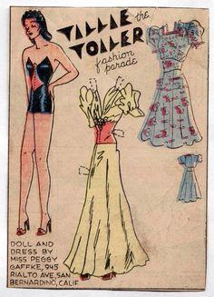 Vintage Tillie The Toiler Paper Dolls 1940s Yellow Long Gown Blue Dress Uncut | eBay