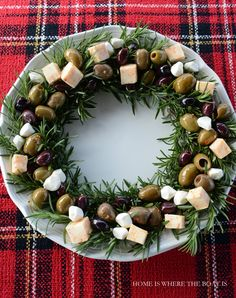 Rosemary Wreath with Olives and Cheese. Add tomatoes for red