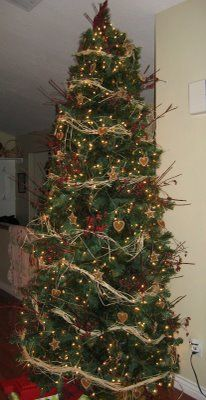 Belly Acre Farm: Rustic Christmas Tree -- I love the tall slender shape.