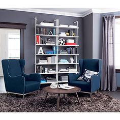 Modern storage furniture designed for urban living. Browse for sleek credenzas, home bar carts, modern dressers, cabinets and more. Home Living Room, Interior Design Living Room, Living Room Decor, Modern Storage Furniture, Office Furniture, Furniture Ideas, Desks For Small Spaces, Loft, Stairways