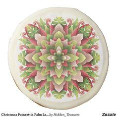 Christmas Poinsettia Palm Leaves Mandala Sugar Cookie Christmas Mandala, Christmas Poinsettia, Polysorbate 80, Tree Nuts, Custom Cookies, Freshly Baked, Chocolate Flavors, Corn Syrup