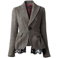 DSQUARED2 one button blazer ($800) ❤ liked on Polyvore featuring outerwear, jackets, blazers, coats, coats & jackets, dsquared2 jacket, grey blazer, peplum blazer, dsquared2 and gray blazer