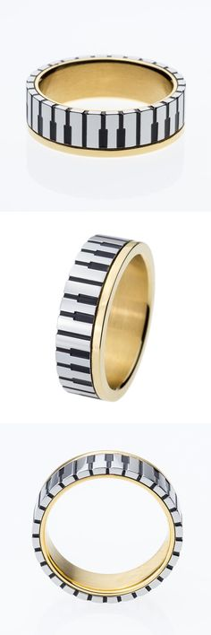 [Visit to Buy] 7mm Wide Men Women's Gold Color Music Piano Keyboard Wedding Band Ring for Music Lovers & Pianist  Available Sizes 5-10 #Advertisement