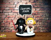 Darth Vader and Bride Star Wars Wedding Cake Topper LIGHTSABER Custom Order! LET  THE FORCE BE WITH US i love you, i know OHMYHERO