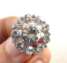 5 Rhinestone Buttons Round for Wedding Invitation by olifstudio, $6.99