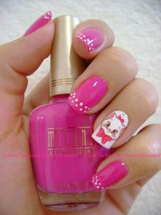Pink nails 26 Black And White Manicure Ideas nails Get Nails, Fancy Nails, Love Nails, How To Do Nails, Pink Nails, White Nails, Fabulous Nails, Gorgeous Nails, Pretty Nails